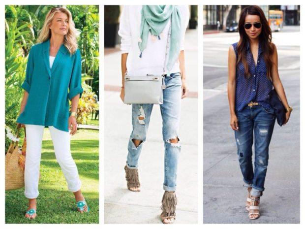 летние образы 2018 для женщин: белые джинсы под жакет рваные под кофту рваные синие под блузу