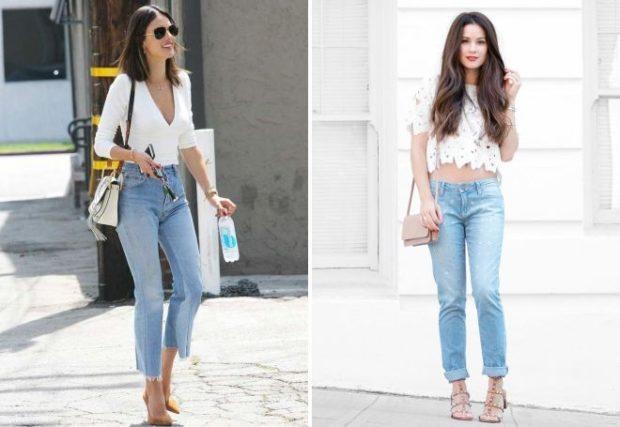 летние образы 2018 для женщин: укороченные джинсы под блузки белые