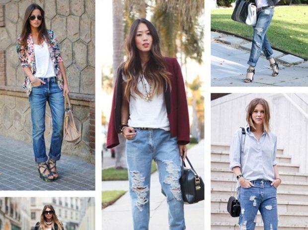 летние образы 2018 для женщин: джинсы короткие под футболки и жакеты рубашку