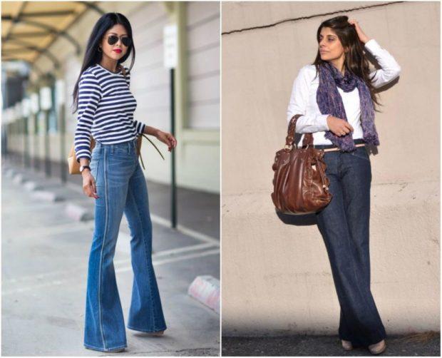 летние образы 2018 для женщин: джинсы клеш под кофточку в полоску белую