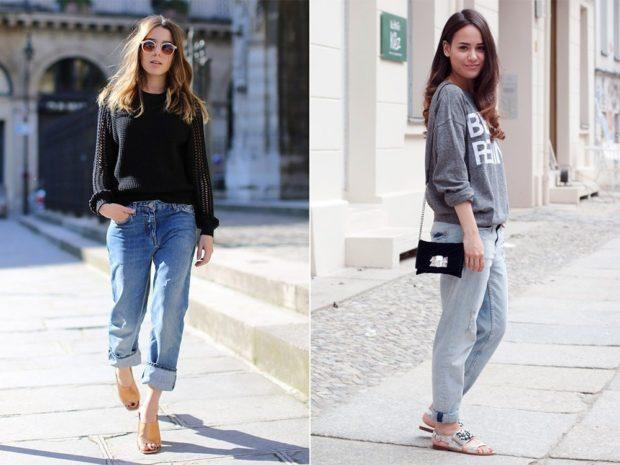 летние образы 2018 для женщин: джинсы с подкатом под кофту классические под кофту спортивную