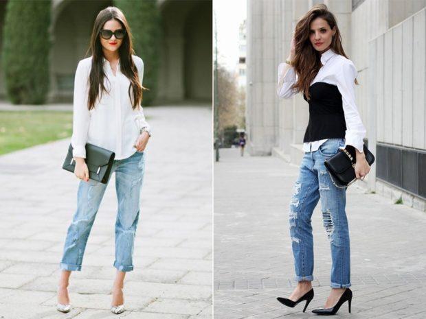 летние образы 2018 для женщин: джинсы короткие под рубашку под блузу и корсет