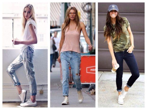 летние образы 2018 для женщин: джинсы подкатанные под майки футболки обувь на низком ходу