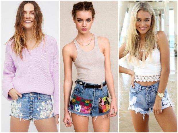 летние образы 2018 фото: джинсовые шорты с разным декором