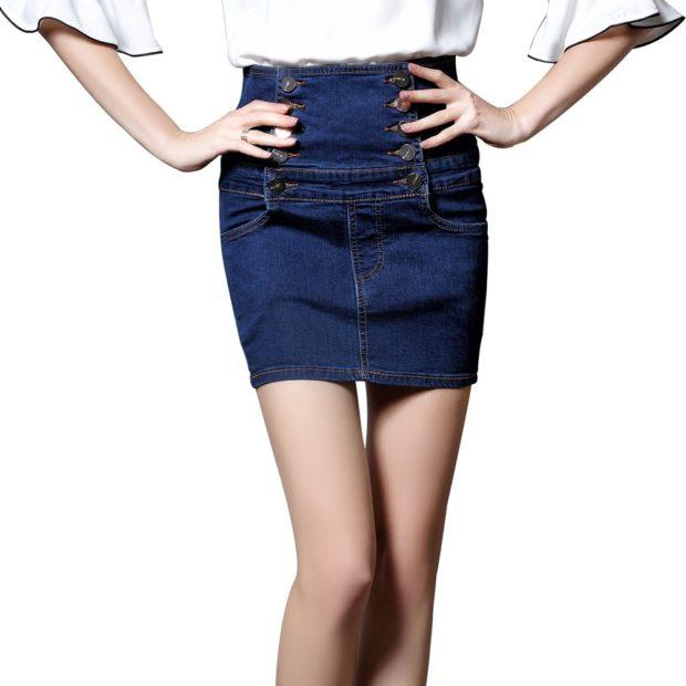 летние образы 2018 фото: джинсовая юбка высокий пояс в обтяжку