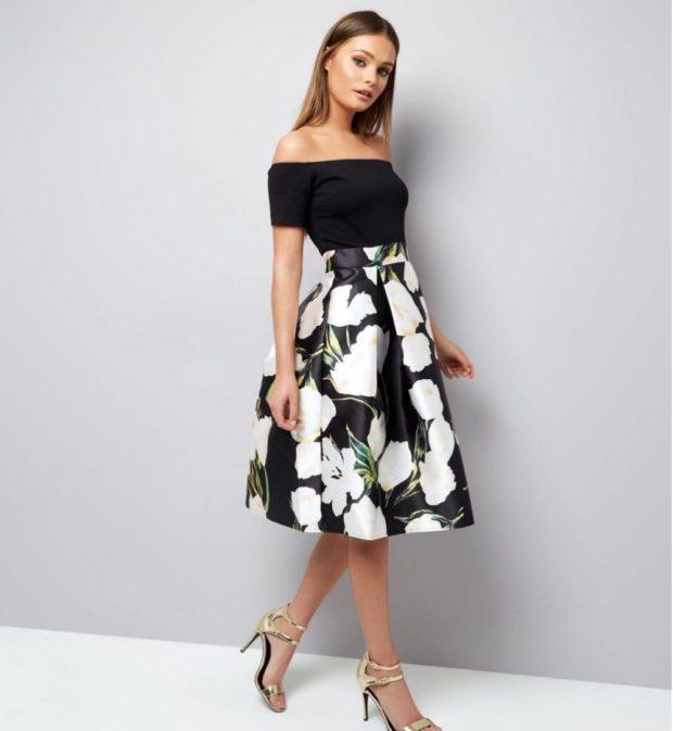 юбка-солнце черная в белые цветы