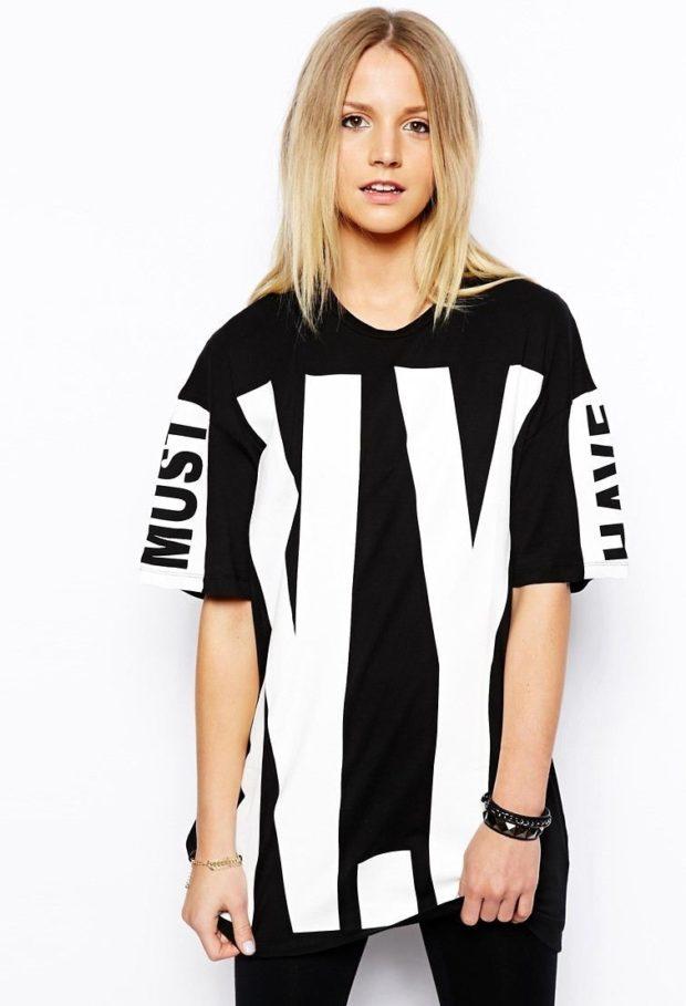 футболка оверсайз черная с надписью