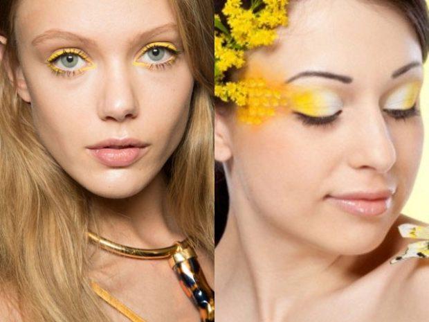 весенний макияж глаза подведены желтым весна лето 2018
