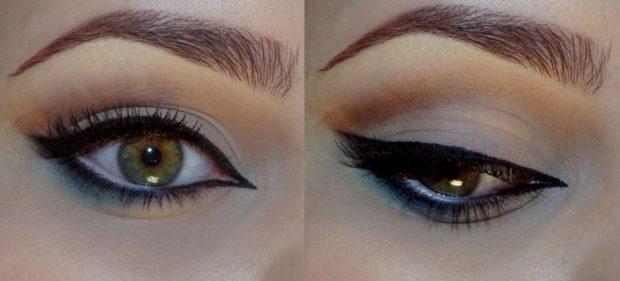 макияж кошачий глаз черный с синим
