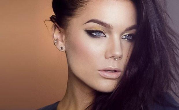 макияж кошачий глаз  черное с золотом