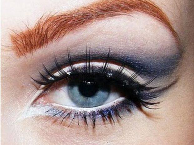 макияж кошачий глаз синий с белым
