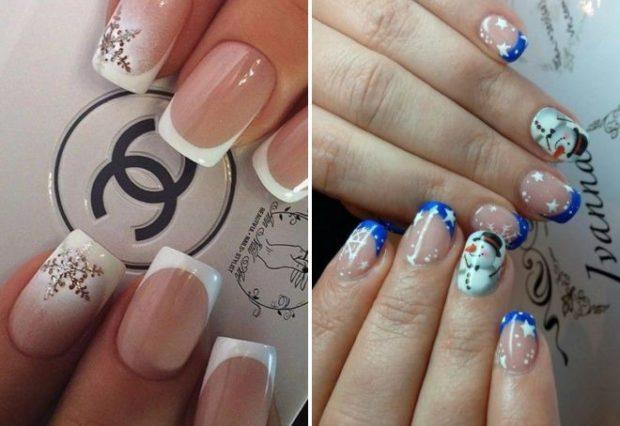 френч 2018-2019: модные тенденции белый один палец омбре с рисунком голубая улыбка фото новинки