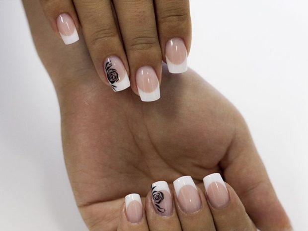 френч 2018-2019: классический с розой на одном пальце модные тенденции фото новинки
