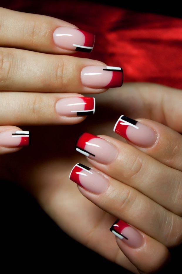 френч 2018-2019: красный с черным и белым модные тенденции фото новинки