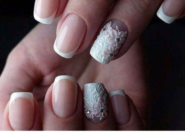 френч на ногтях 2018-2019: классический на одном пальце лепка фото новинки