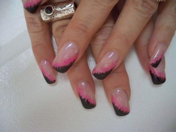 боковой френч розовый с черным