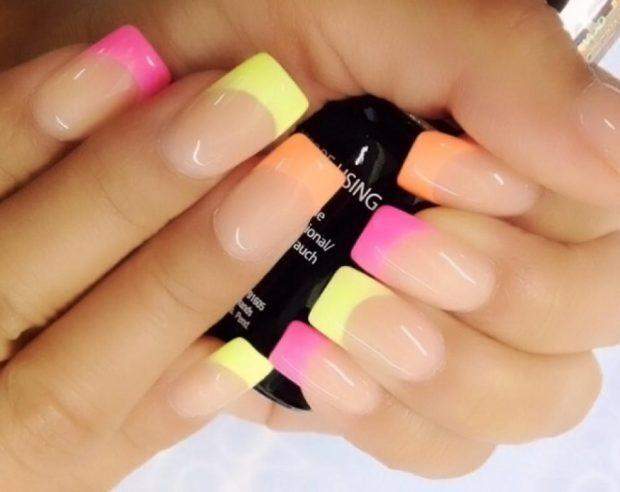 цветной маникюр френч розовый желтый оранжевый