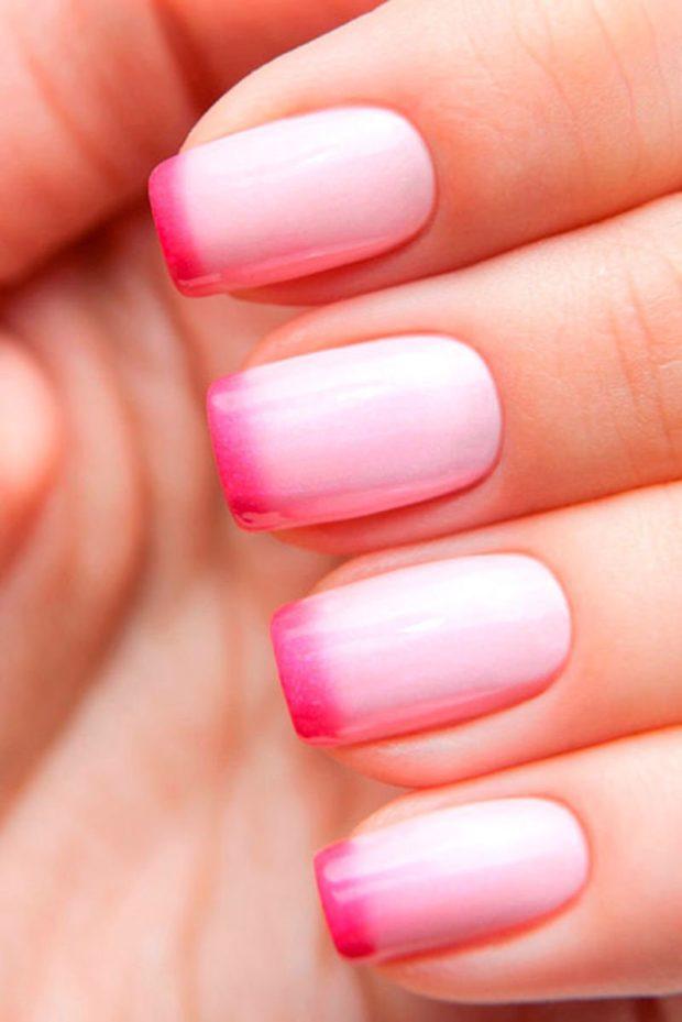 омбре-френч розовый с малиновой улыбкой