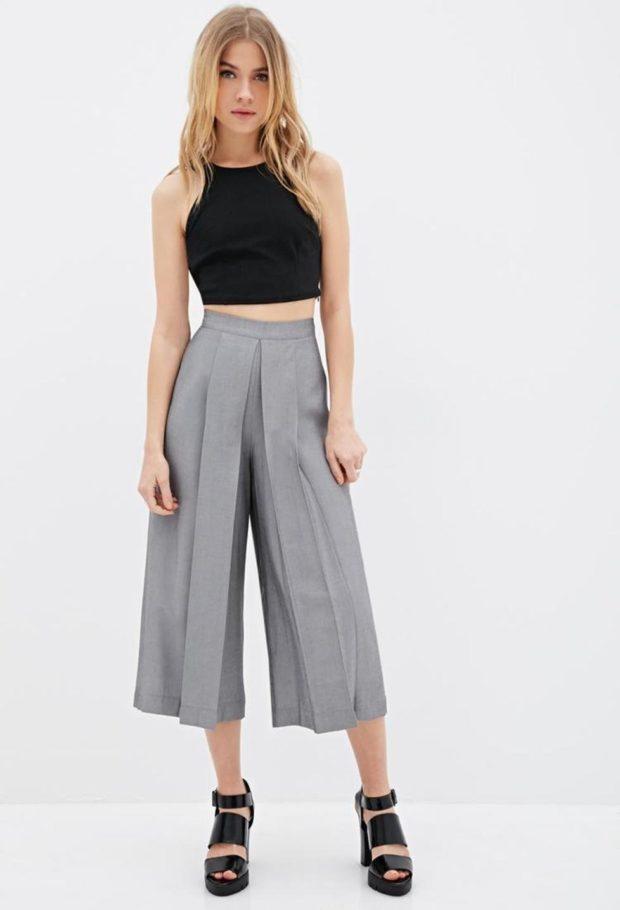 брюки-кюлоты серые