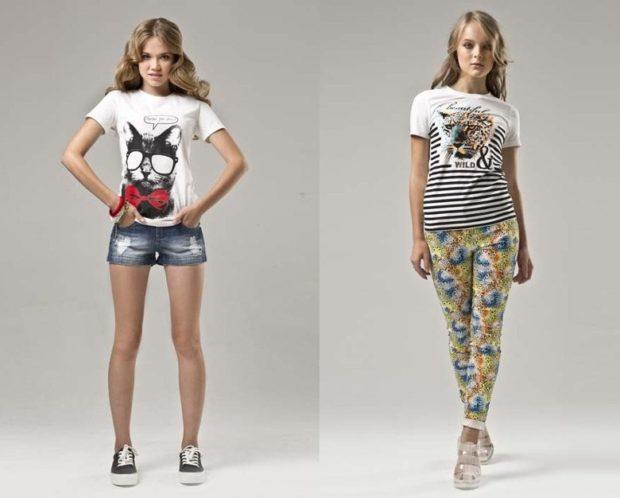 короткие шорты и футболка лосины под футболку