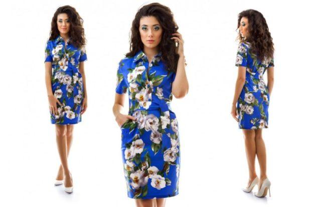 платье синие в цветы
