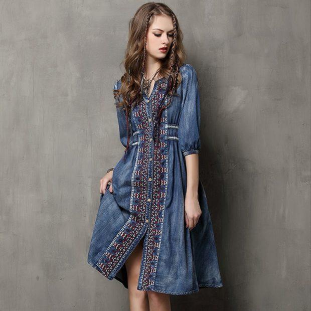 платье из катона синее с узором