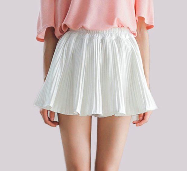 юбка-плиссе белая короткая