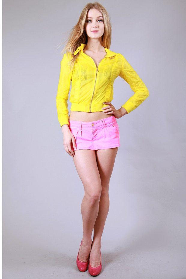 юбка катон короткая розовая