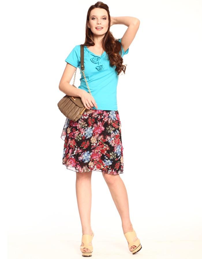 юбка в цветы шифон