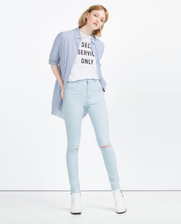 высокая талия джинсы под футболку рубашка сверху