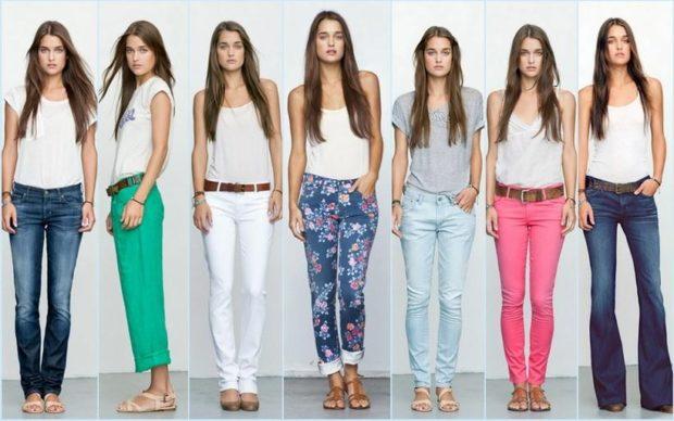 джинсы синие брюки салатовые короткие джинсы белые цветные голубые розовые синие под майки однотонные