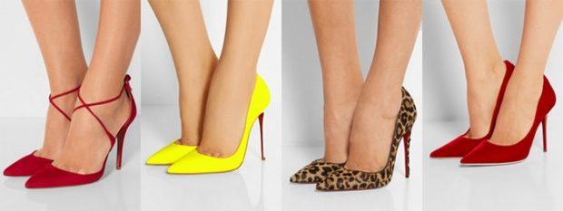 туфельки на шпильке красные желтые в принт красные