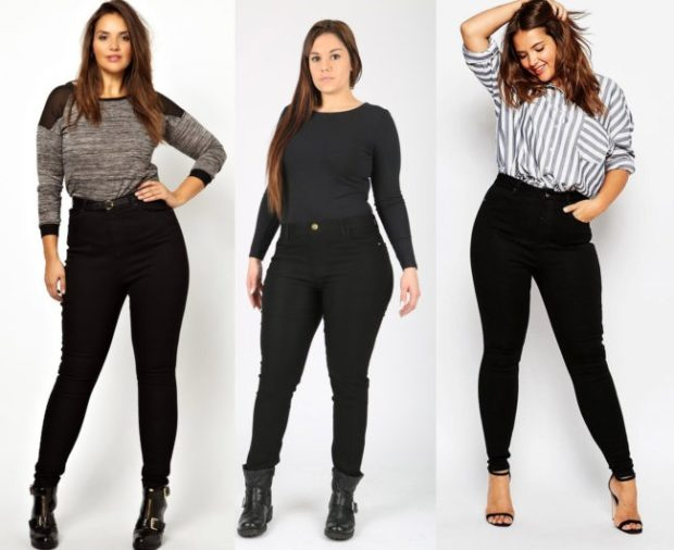 брюки для полных черные серые