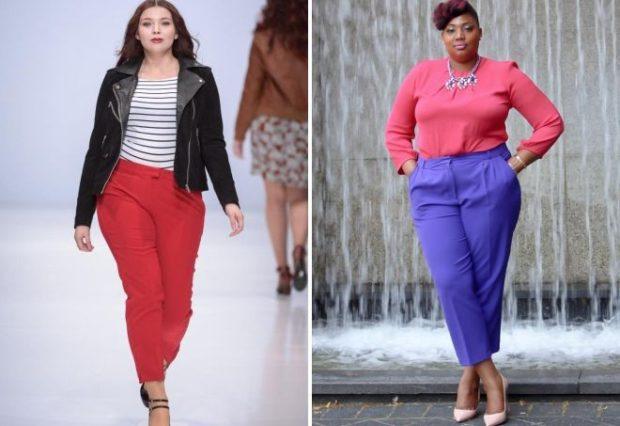 брюки для пышных форм красные и синие