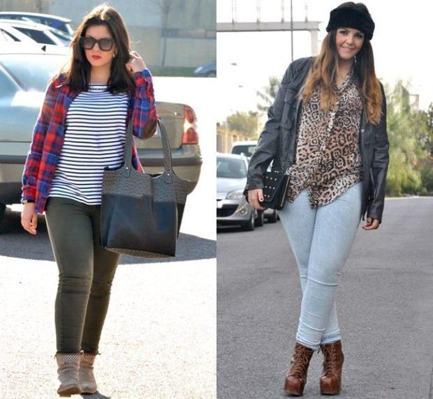 коричневые джинсы и белые