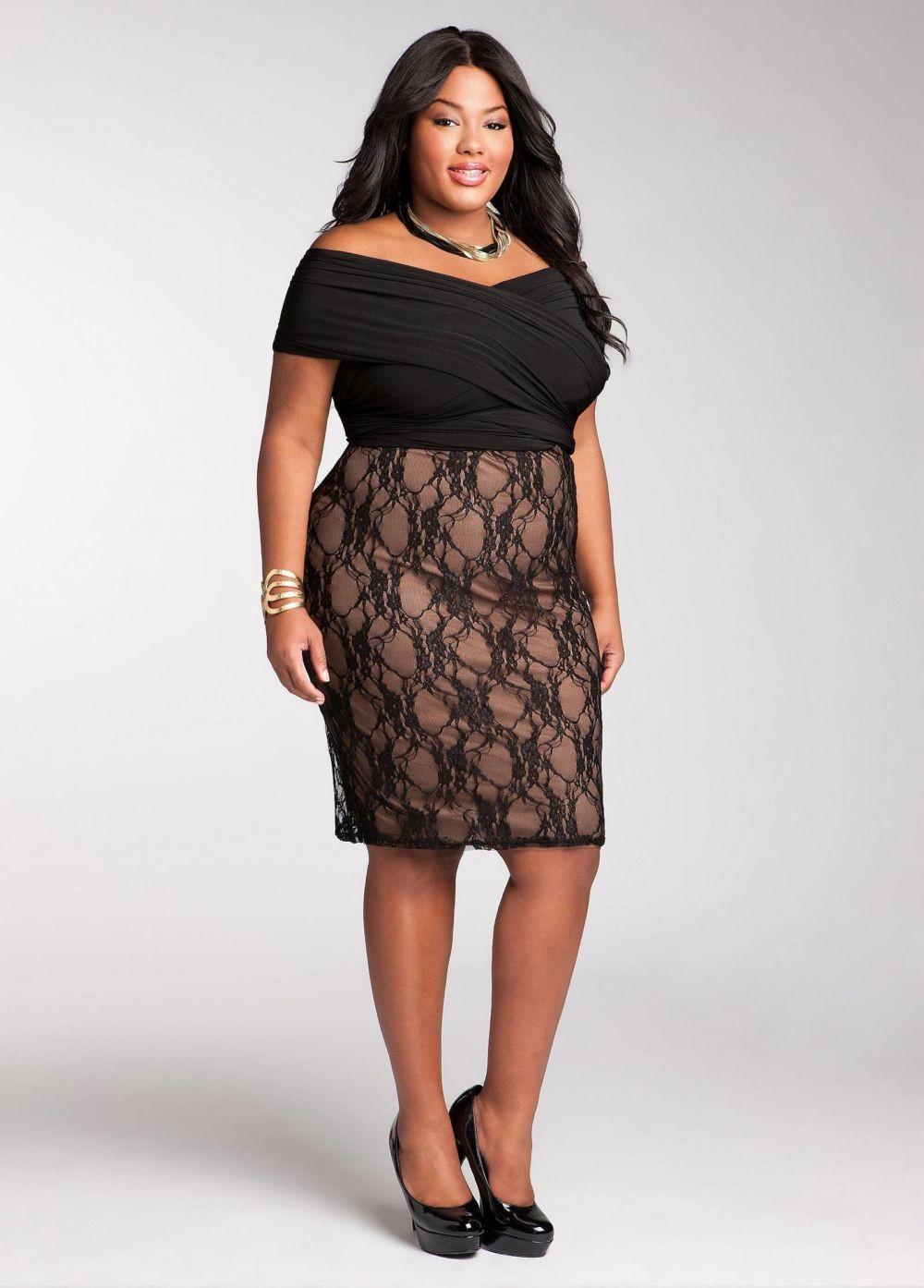 платье для пышных форм верх черный низ телесного цвета