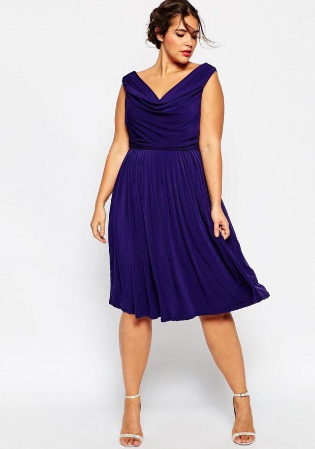 синие платье для пышных форм