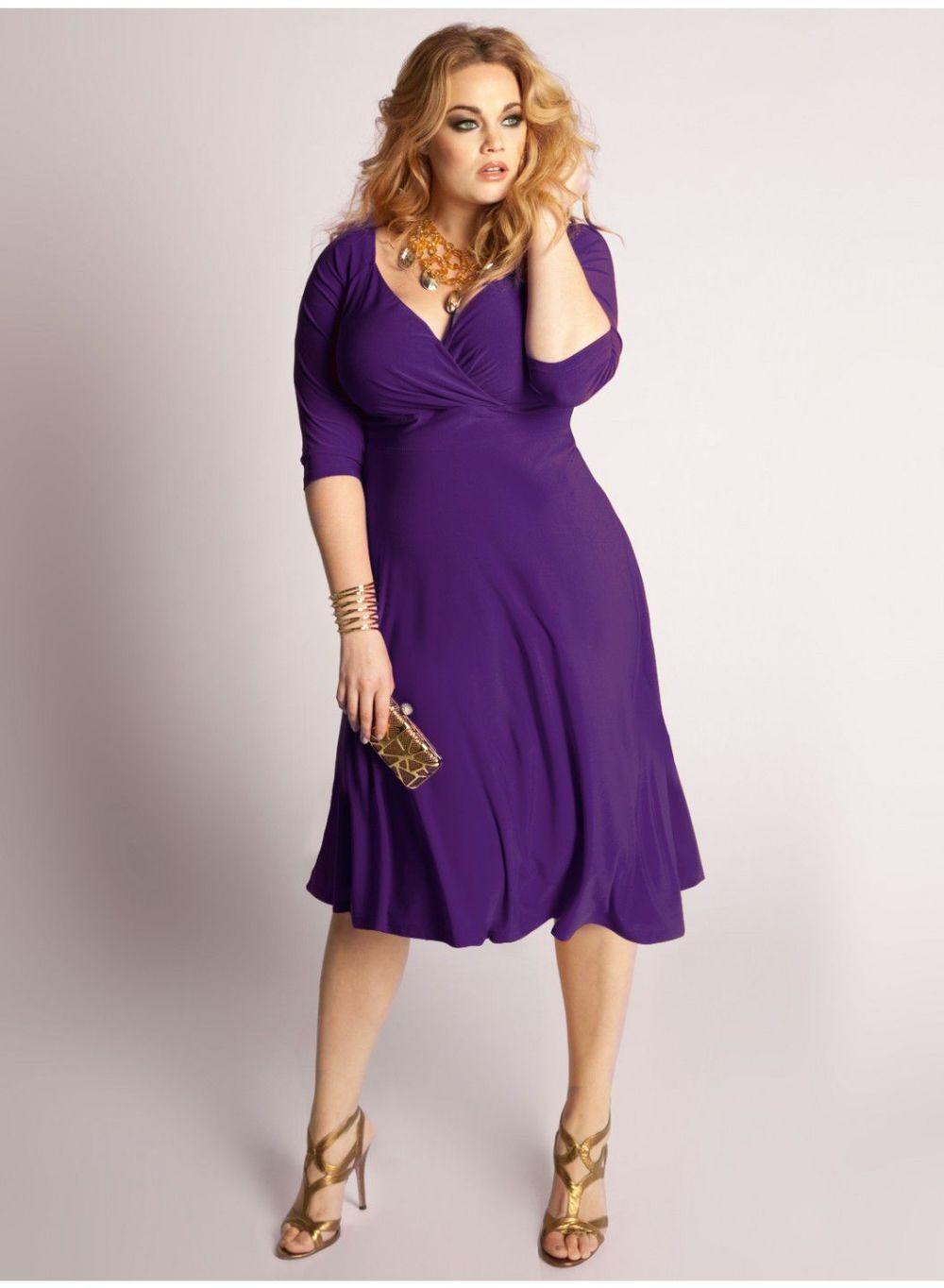 сиреневое платье для пышных форм