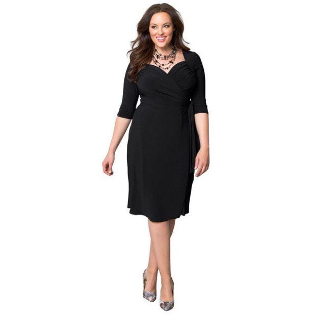 черное классическое платье для пышных форм