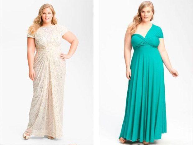 платье белое, бирюзовое для пышных форм