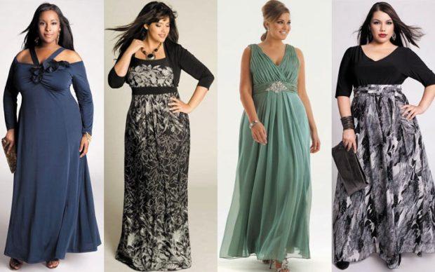 платье для пышных форм синие серое с черным зеленое