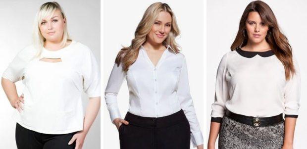 блузка белого цвета и с черным воротником