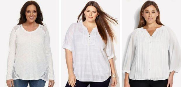 белая блузка для пышных форм