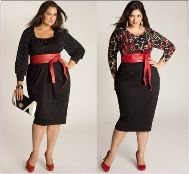 платье с широким поясом красного цвета