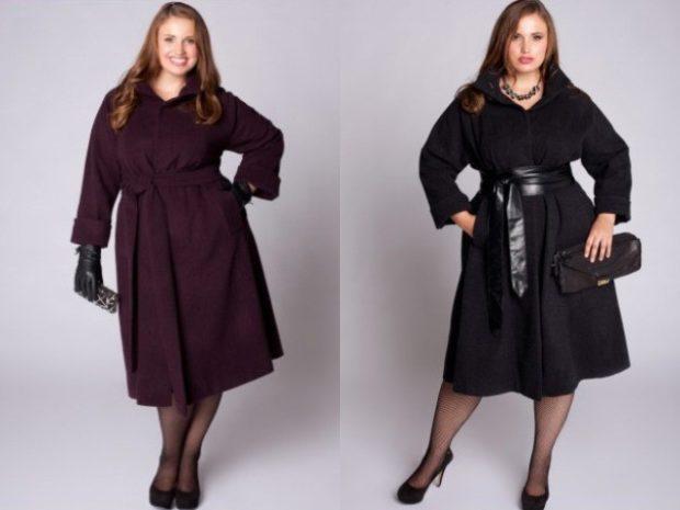 пальто с широким ремнем черное и сереневое