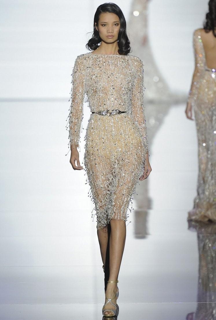 прозрачное платье серебристое по колено