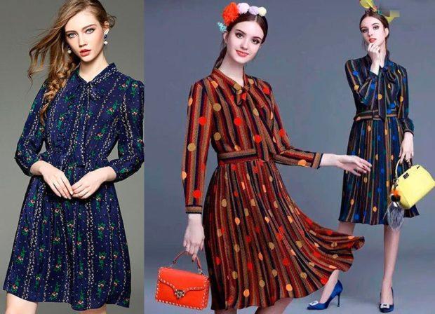 платья легкие синее в принт красное в горох сине-коричневое
