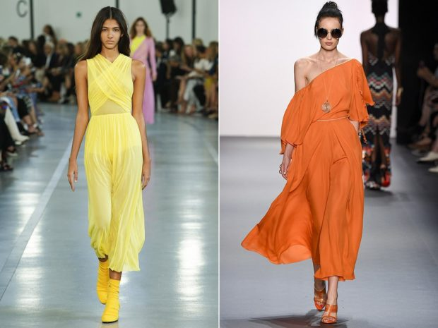 щифоновые платье макси желтое без рукава оранжевое открытое плечо