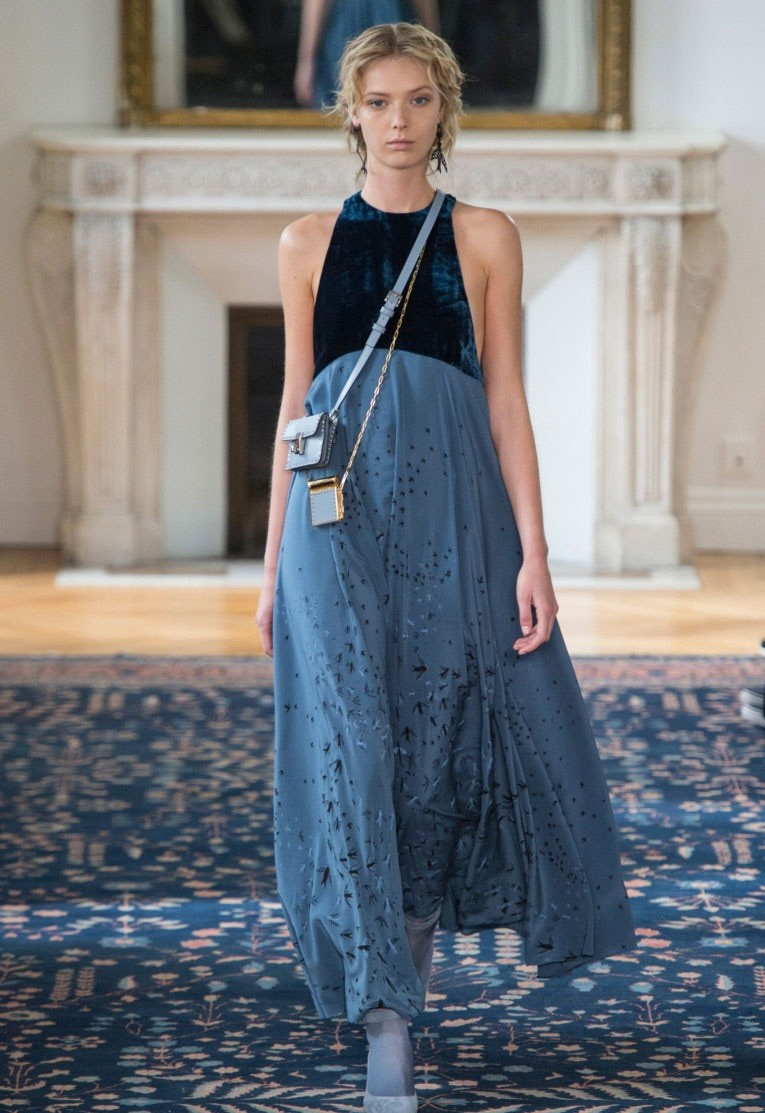 платье макси юбка шифон верх бархат синий