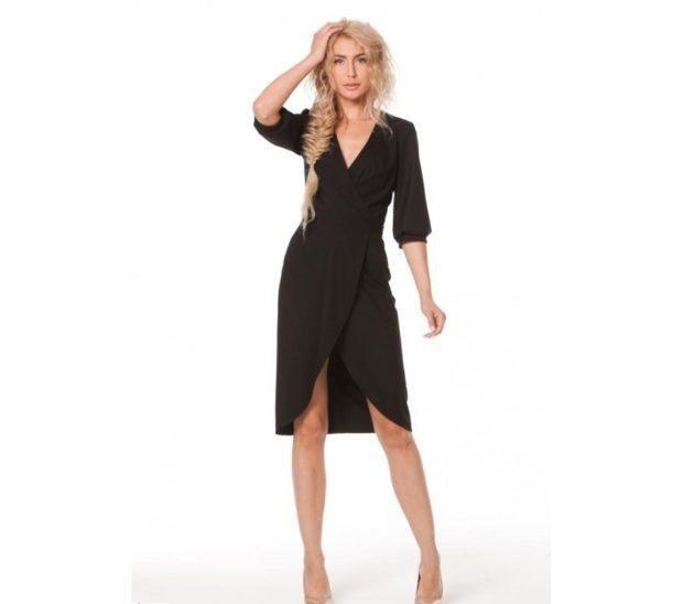 платье черное по колено с запахом